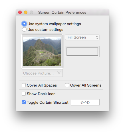 The Preferences dialog lets you set up the parameters for the curtain that will cover your desktop to hide all its icons.